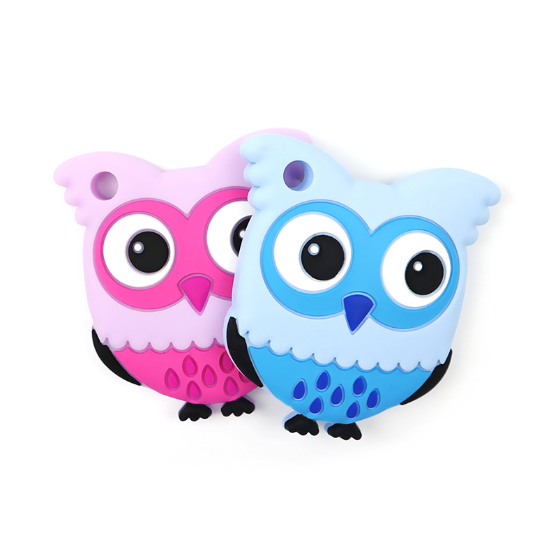 1pc Baby Silicone Teethers Cute Animal Owl Toddle Teether Chew Charms Baby Kids Teething Toys DIY Chewing Necklace Nursing Tool