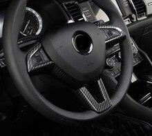 1pc for SKODA KODIAQ Steering wheel Button box Decorative frame Trim carbon fibre pattern