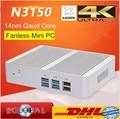 Eglobal Intel Безвентиляторный Mini PC Celeron N3150 N3050 Quad Core 1.6 ~ 2.08 ГГц Windows 10 Mini PC Компьютер Dual HDMI WiFi ДОСТУП в ИНТЕРНЕТ TV Box