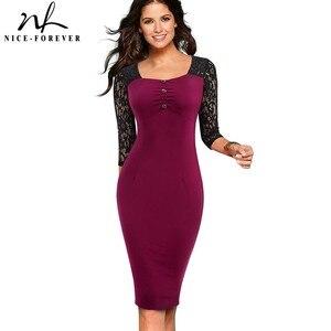 Image 1 - 素敵な永遠のヴィンテージエレガントなレースのパッチワークレトロ襟 Vestidos ビジネスパーティーボディ仕事オフィス女性ドレス B486