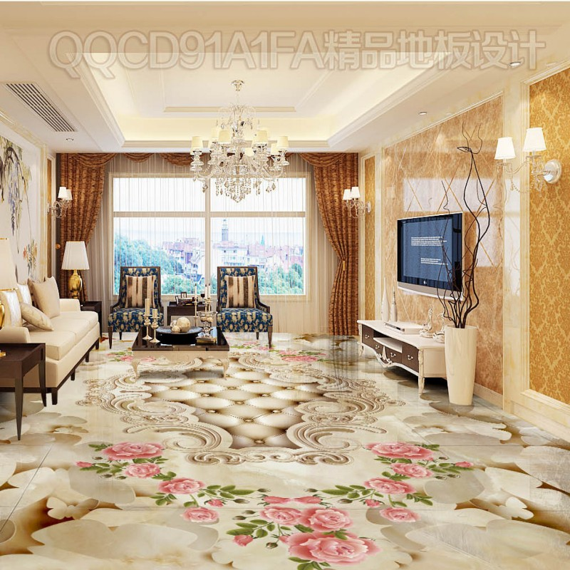 Free shipping Marble pattern butterfly dancing 3D European floor custom 3d floor waterproof self-adhesive photo wallpaper mural