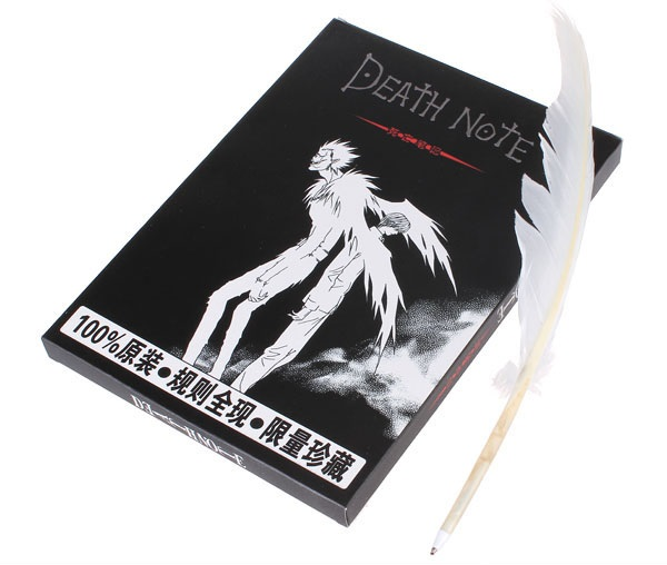 Death Note notebook feather pen set Anime Death Note cosplay death-book + Ryuuku quill p ...