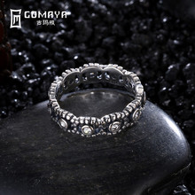 GOMAYA Authentic 100% 925 Sterling Silver Round Ring with Clear Crystal Stamp S925 Party Jewelry