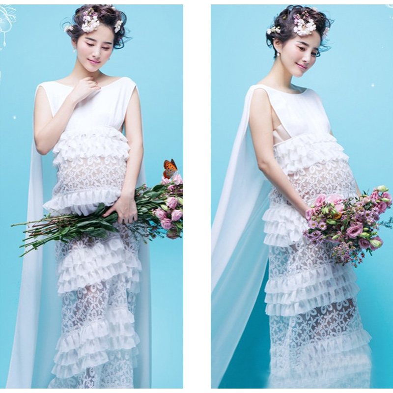 2017 Fashion Maternity Dresses Photography Props Summer Beach White ...