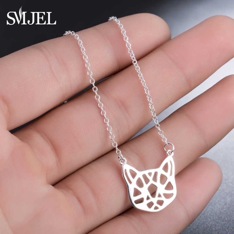 SMJEL Fashion Women Cat Accessories Jewelry Delicate Origami Cat Charm Necklace Chain Geometric Animal Gifts Girls Birthday N272