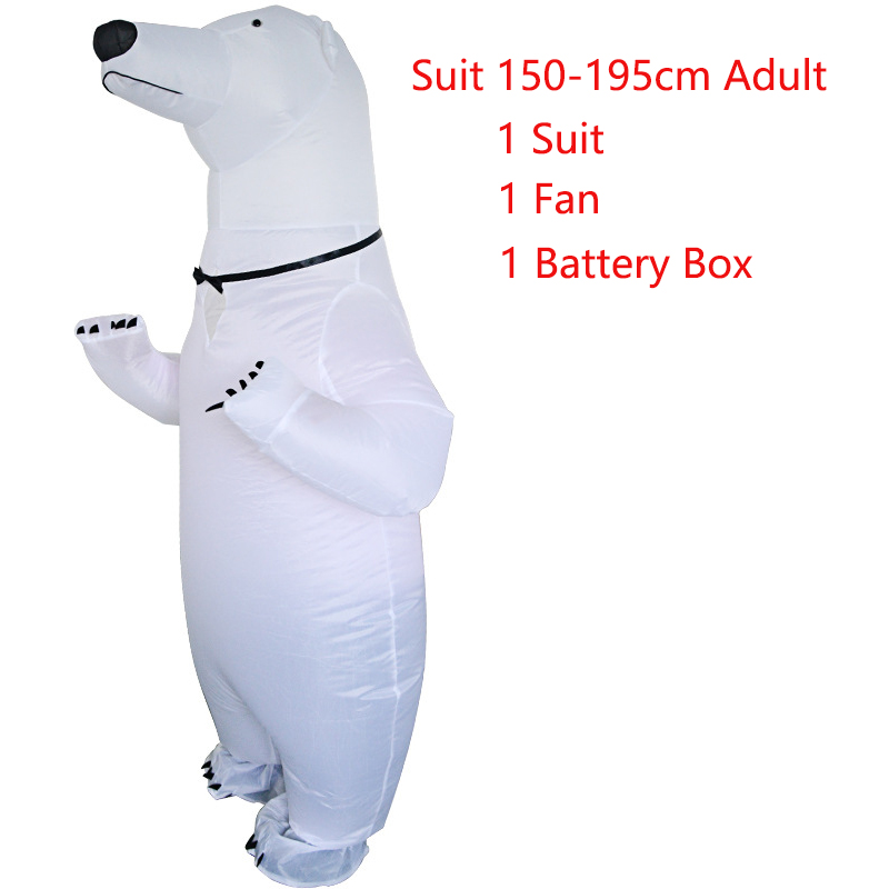 Adult Halloween Party Inflatable Costume Cute Polar Bear Mascot Performance Clothes Women Men Carnival Purim Cosplay Costumes
