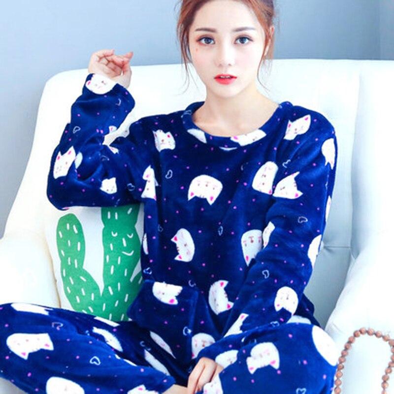 Long women pajamas suit sleepwear female spring autumn for Women s flannel sleep shirt