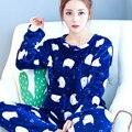 Novas Mulheres Pijama terno de Flanela Salão Espessamento Coral Fleece Sleepwear Feminina Outono da Longo-luva Camisola Nightgrown