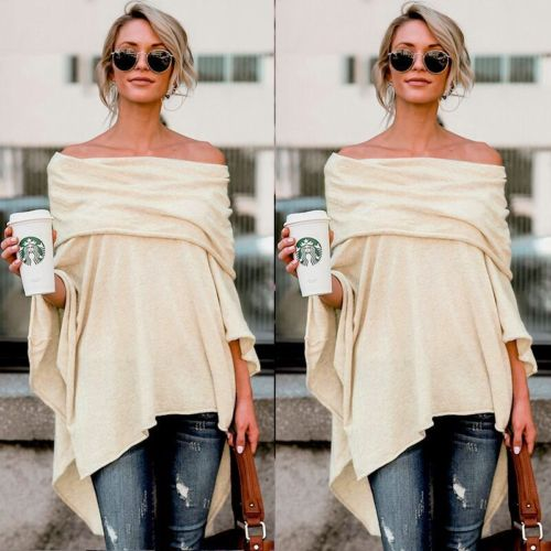 Summer Fashion Sexy Women Casual Loose Off Shoulder Asymmetrical Batwing Sleeve Crops T-shirt Tops