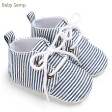 baby boy girl crib shoes 2017 fashion newborn toddler baby schoenen blue white cotton lace-up infant striped baby casual shoes