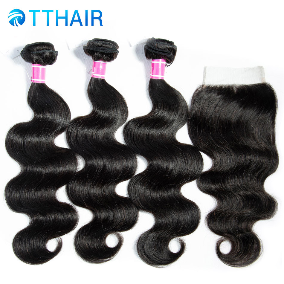 Body Wave Bundles With Closure  Brazilian Hair Weave Bundles With Closure Human Hair 3 Bundles With Closure Remy TTHAIR