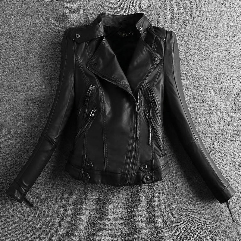 2019   Leather   Coats Black Motorcycle   Leather   Clothing Short Mandarin Collar Ladies   Suede   Women Biker Jacket S-2XL