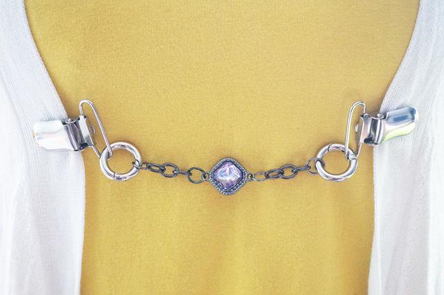 Áo Len cổ điển Chủ Clip Rhinestone Hạt Cardigan Collar Chủ Phụ Nữ Cô Gái