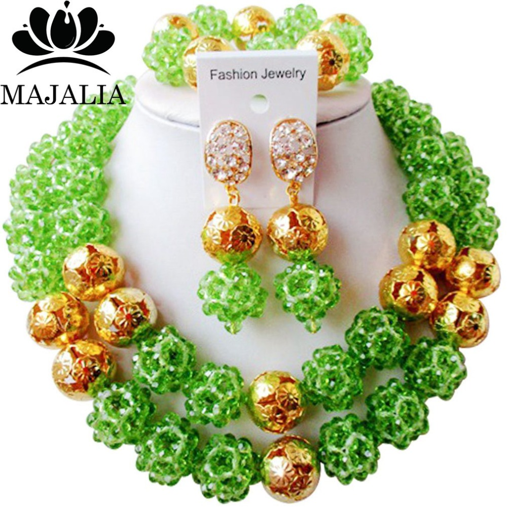 Majalia Classic Nigerian Wedding African Jewelry Set Green Crystal Bead Necklace Bride Jewelry Sets Free Shipping 2JS037Majalia Classic Nigerian Wedding African Jewelry Set Green Crystal Bead Necklace Bride Jewelry Sets Free Shipping 2JS037