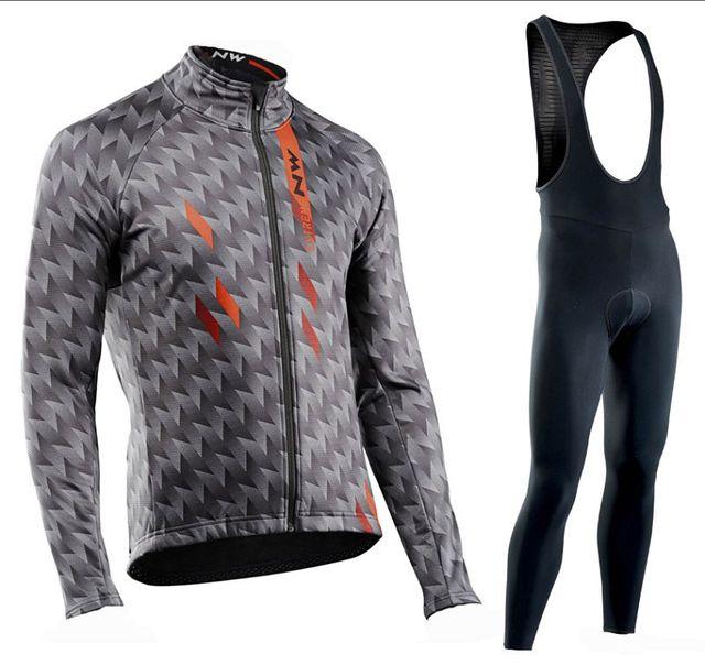 2019 Northwave NW Pro Camisa da equipe de Manga Comprida Ciclismo Roupas Definir terno homens ao ar livre Respirável sportful bicicleta MTB roupas paded 5