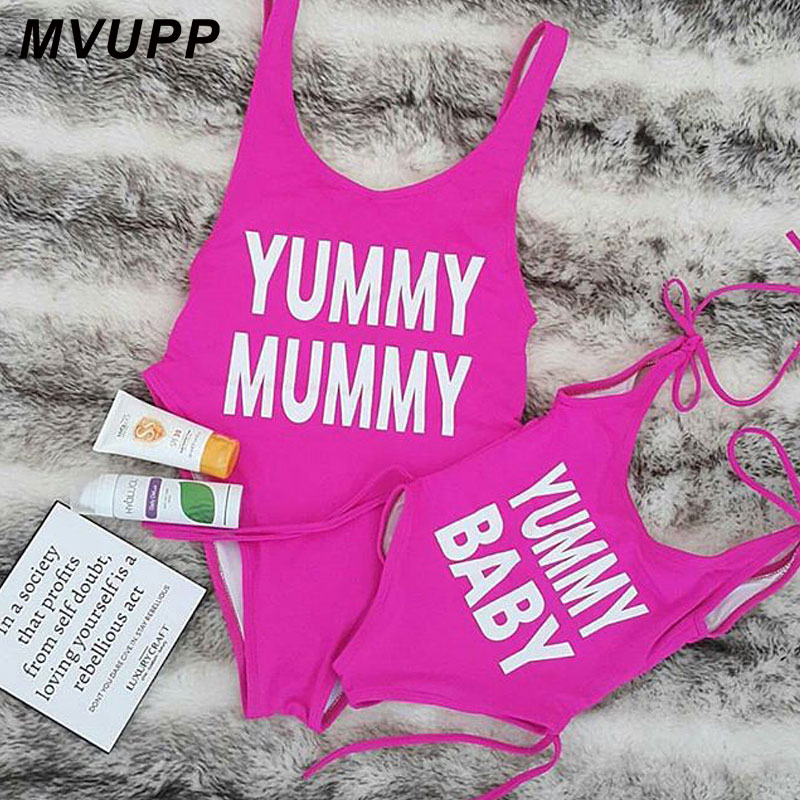 Family Matching Outfits Mother and Daughter swimsuit Clothing Mom Girls Swimwear mommy me bikini look dresses Swimming clothes in Matching Family Outfits from Mother Kids