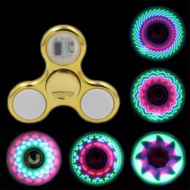Three Leaf Fidget Spinner Novelty Lighting LED Toy Children Favor Colorful Fidget Hand Spinner