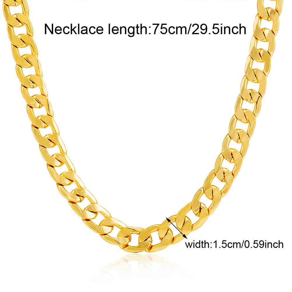 Ethlyn złoty kolor mężczyźni naszyjnik biżuteria hurtowych Trendy łańcuch Figaro łańcuszki na szyję mężczyźni Party Punk Rock akcesoria N030