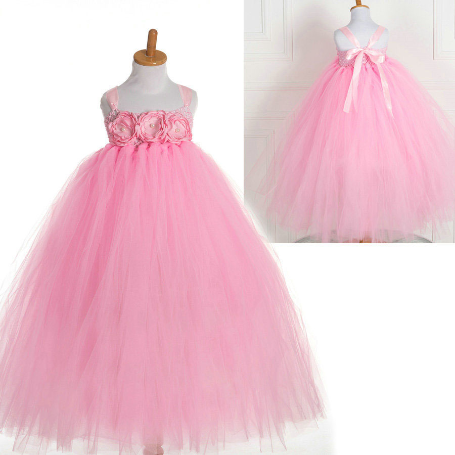 Compare prices on girls pink bridesmaid dresses online shopping fashon tutu style pearl wedding little bridesmaid flower girls party pink dress kidschina ombrellifo Images