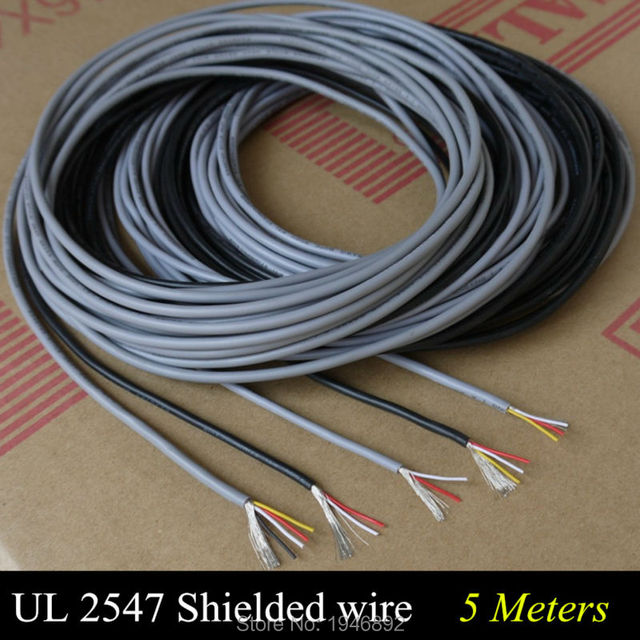 5 Meters High Quality UL 2547 28/26/24 AWG Multi-core Control Cable Copper Wire Shielded Audio Cable Headphone Cable Signal Line