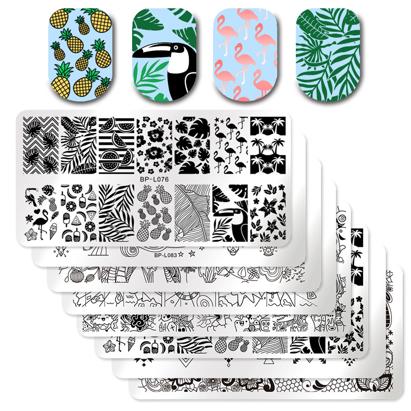 BORN PRETTY 1 Pcs Rectangle Nail Stamping Plate Nail Art Stamping Image Plate DIY Stamp Template Nail Stencil Tool Kits