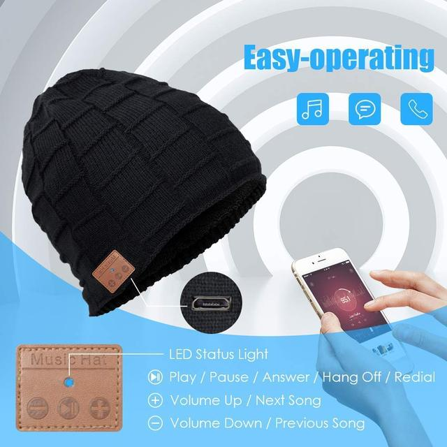 Wireless Bluetooth Beanie Winter Hat with Bluetooth Headphones Supports Hands-free HD Music & Calling,Unisex,Washable, best gift