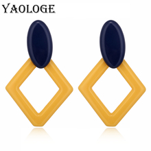 YAOLOGE Simple Ellipse Acrylic Earrings Fashion Colorful Creative Rhombic Personality Jewelry Vintage Statement For Women New