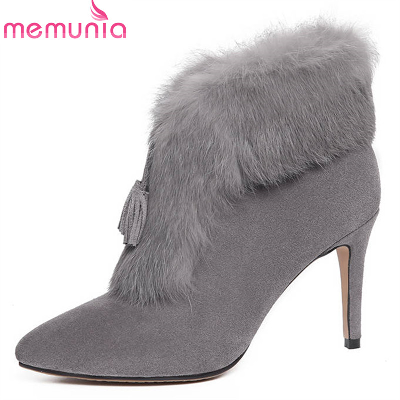 MEMUNIA 2018 new arrival cow suede leather boots women pointed toe ankle boots sexy high heels winter boots elegant party shoesMEMUNIA 2018 new arrival cow suede leather boots women pointed toe ankle boots sexy high heels winter boots elegant party shoes