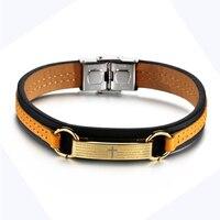 Men S Genuine Leather Bracelet Gold Titanium Steel Cross Bible Scripture Spanish Bracelets For Men Women