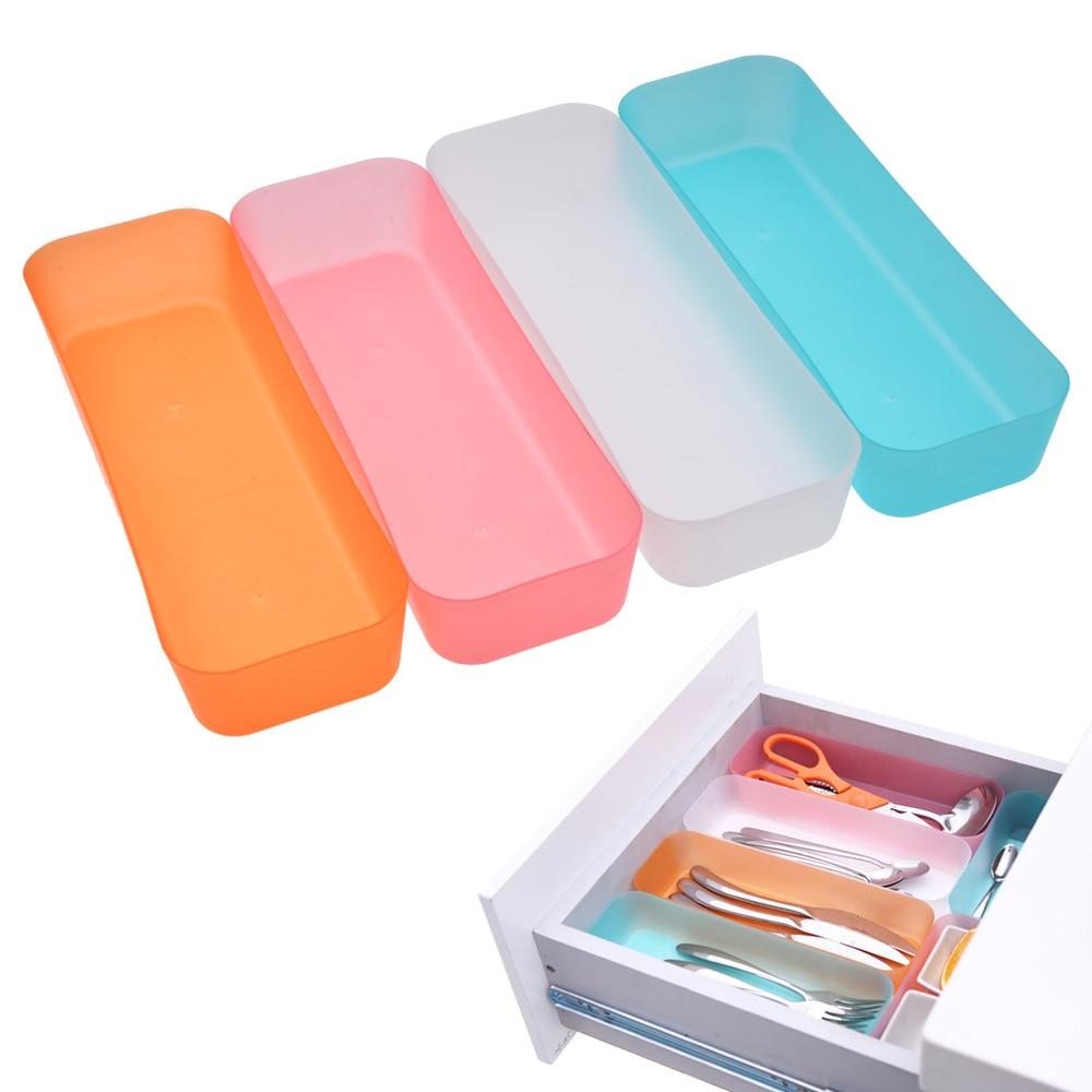 HIPSTEEN Plastic Storage Box Kitchen Utensils Stationary for Home Kitchen Tool In-Drawer Storage Box Organizer -Color Random