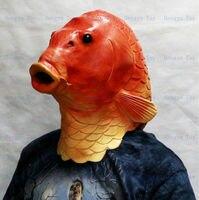 Tuyệt Vời Đẹp Goldfish Mask Quảng Cáo Cá Vàng Đồ Chơi bán buôn Fancy Dress Latex Movie Trang Phục
