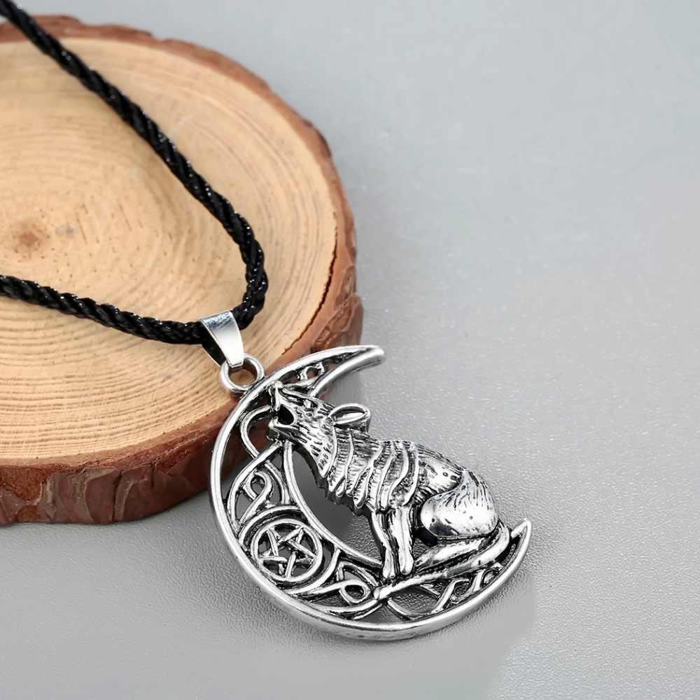 CHENGXUN Valknut của Odin Biểu Tượng của Bắc Âu Viking Nam Mèo của Mặt Trăng Mặt Dây Chuyền Đẹp, Mặt Dây Chuyền Nam Hip hop Trang Sức Thời Trang Collier