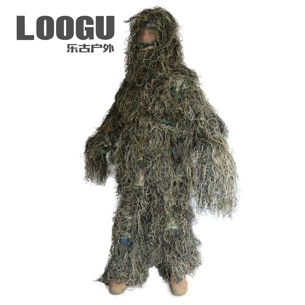 Camouflage Ghillie Suit Sniper Woodland Hunting Outfit 3D Disguise Uniform Camo CS Suits Set Jungle Military Hunting Cloth cs camouflage suits set bionic disguise uniform hunting woodland sniper ghillie suit hunting jungle military train cloth s049