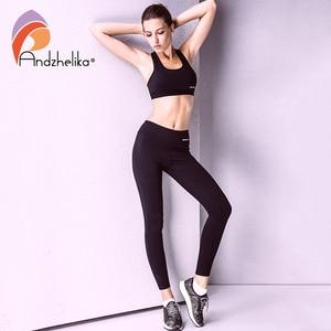 Image 2 - Andzhelikaヨガパンツ2018新しい女性通気性ランニングパンツ弾性スポーツレギンスフィットネスジョギングヨガレギンスワークアウトパンツ