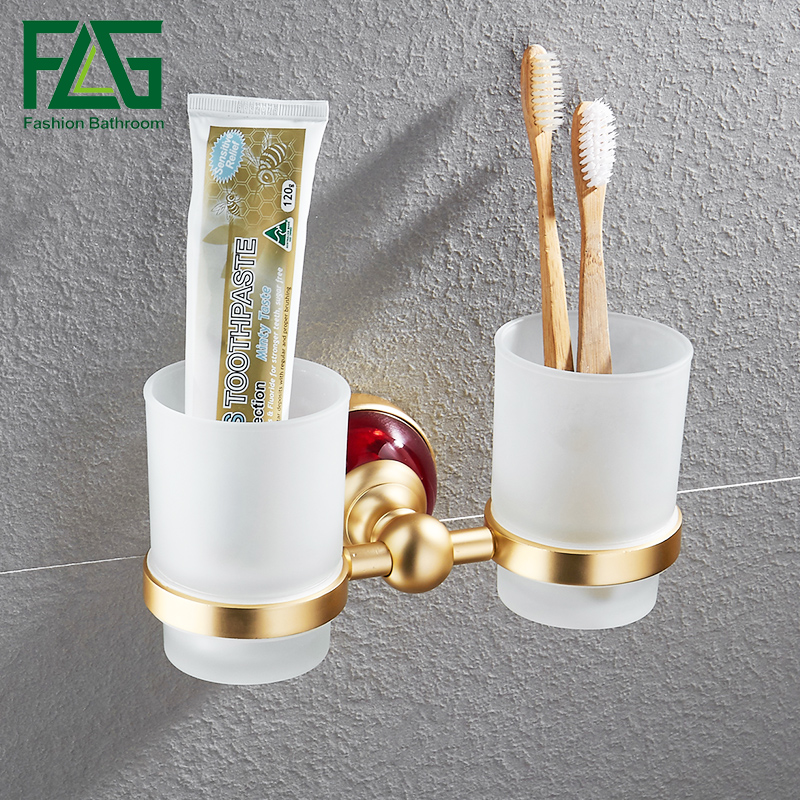 FLG Tumbler Holders Bathroom Cup Holder Space Aluminum Gold Tumbler Toothbrush Holder  Bathroom Accessories flg luxury chrome wall mounted toothbrush tumbler bathroom accessories single cup tumbler holders toothbrush cup holders