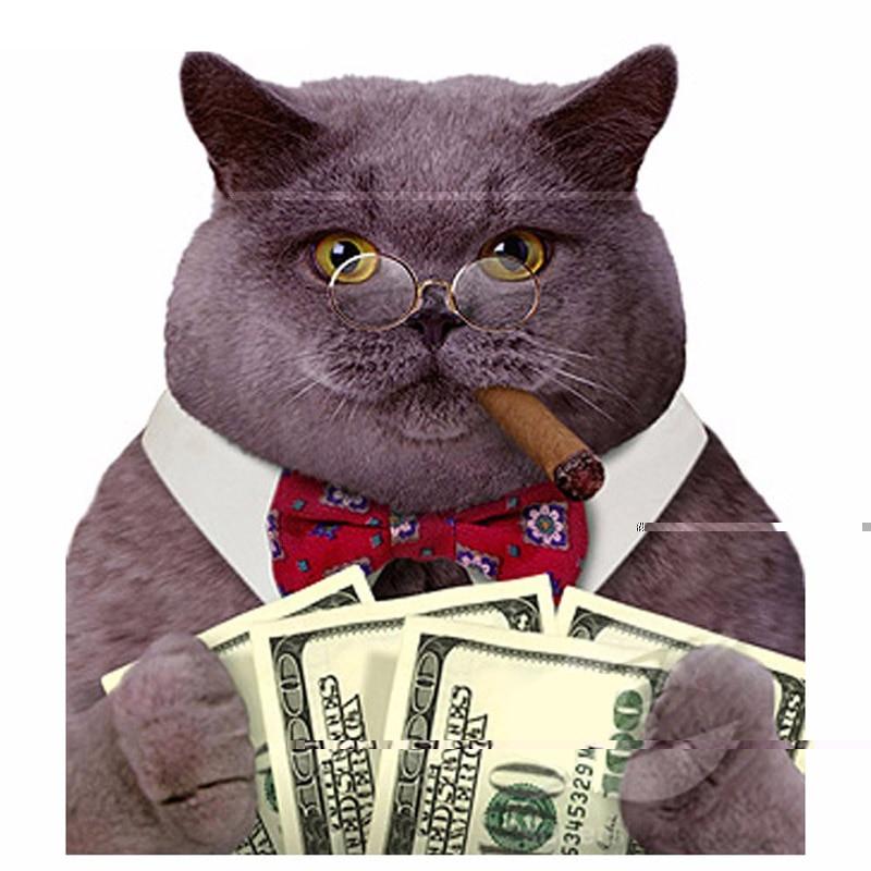 5D DIY Diamond Painting Cat With Cash Full Square 3D Diamond Embroidery Cross Stitch Cat Dollars Cigar Needlework Mosaic Kit