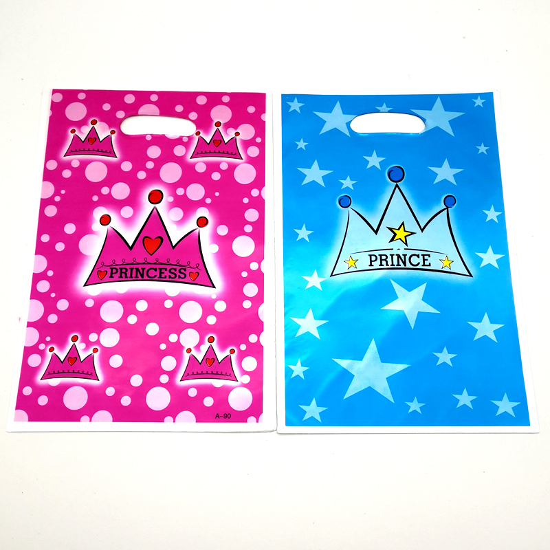 20pcs/lot Baby Shower Party Kids Favors Prince Princess Pink Blue Crown Theme Plastic Loot Bags Birthday Decorate Gifts Bags