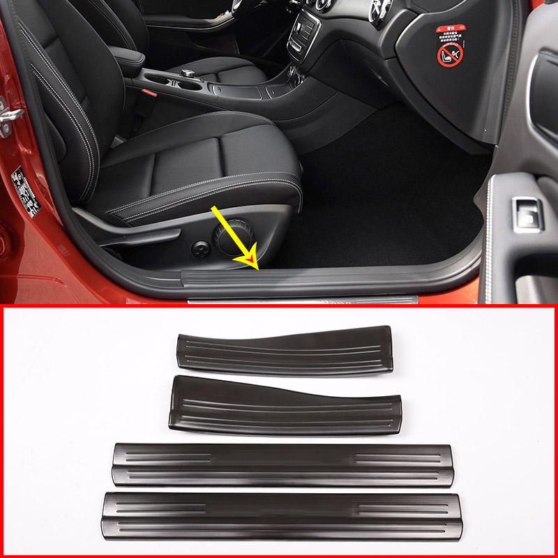 4 x Black and Silver Door Sill Protect Plate Trim For Mercedes Benz A B CLA GLA Class W176 W246 W117 C117 X156 Car Accessories accessories for mercedes benz gla 260 cla a200 w176 c117 w117 x156 storage box cover ashtray trim chrome car styling