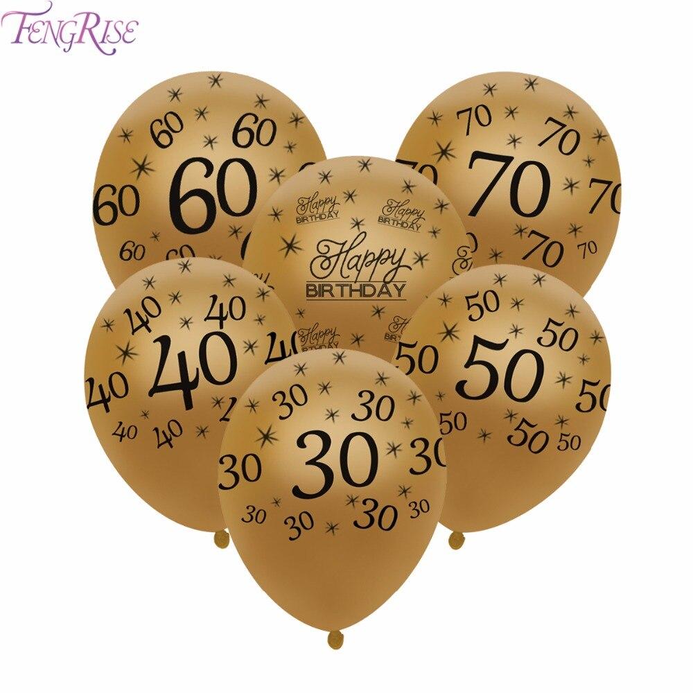 12 Anniversario Matrimonio.Fengrise 10pcs 12 Pollici 30 40 50 Oro Di Buon Compleanno