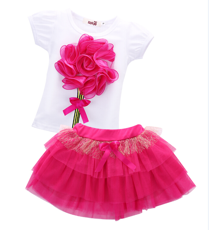 2pcs Flower Bow Tulle  Baby Party Tutu Skirts Summer Baby Kids Girls Clothes Sets Mini Tops T-Shirts Skirts New Pink 2 - 6 Years 2016 new fashion boutique outfits for omika baby girls sets with 2 pcs cute print long sleeve tops bow tutu skirts size 4 12y