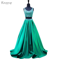 Long Prom Dress 2017 Elegant Scalloped Neckline Beaded Crystals Beaded Floor Length Backless 2 Piece Emerald