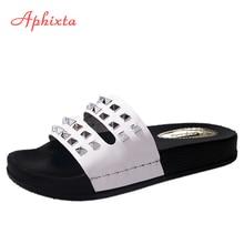 Aphixta Plus Big Size 44 Szegecsek Cipők Női Papucsok Nyári Selyemszövetek Lapos Sarkúak Slipper Flip Flops Beach Shoes Diák