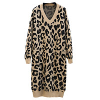 Autumn and winter long knit women's bat sleeves loose large size bottoming leopard sexy V neck knit pullover dress AL403