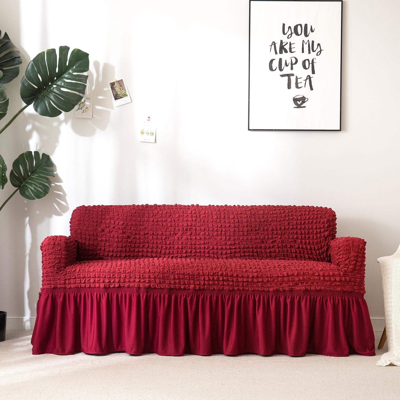 2-in-2 Wine Red 2-Seat Loveseat Sofa Cover 1-seat Slipcover w//Skirt Non-slip