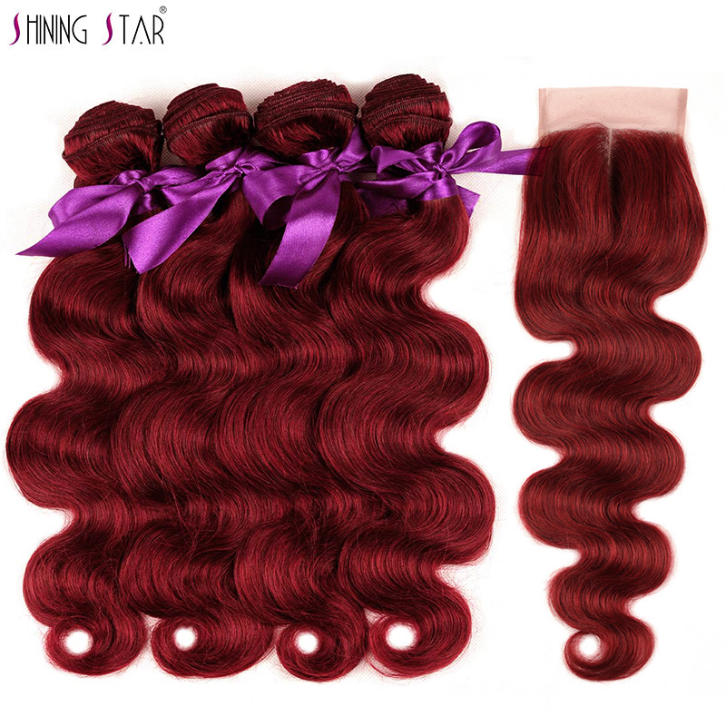 Shiningstar 4 Colored 99J Malaysian Hair Bundles With Closure Red Body Wave Hair With Closure Weaves Human Hair Burgundy Nonremy
