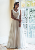 Elegant V neck Chiffon Wedding Dresses Turkey 2019 Custom Made Bridal Dress Wedding Gown with Belt vestidos de noiva Plus size