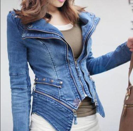 Pour Biker Denim Vestes Épaule Slim Jeans Cuir Fit Moto Veste Rembourré Bleu Femmes Zipper Manteau D'hiver En rYrwq7S