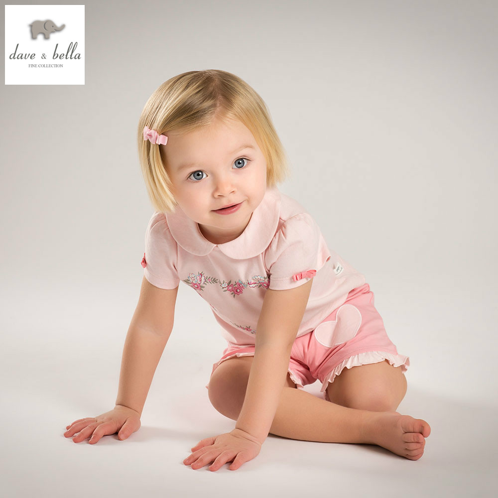 DB5218 dave bella summer baby girls heart printed sets sweet short sets child pink set infant clothes  kids sets baby costumes