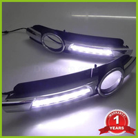 Super Bright OEM Chrome Style 12V CAR LED DRL Daytime Running Lights With Fog Lamp Hole