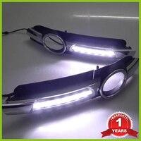 Super Bright OEM Chrome Style 12V CAR LED DRL Daytime Running Lights With Fog Lamp Hole